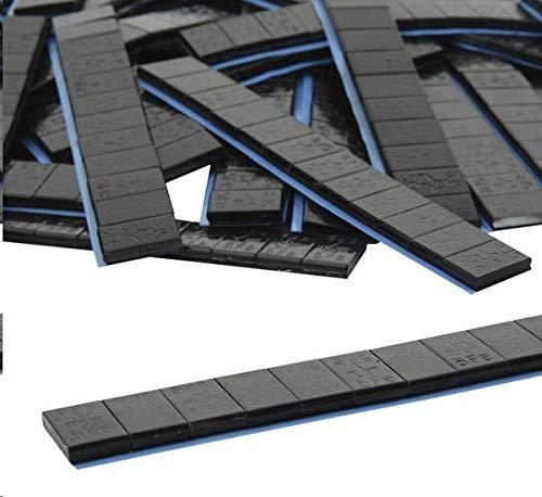 DWT-Germany 100882 10 je 12/5g Stück Auswuchtgewichte Schwarz 0,6kg Klebegewichte Stahlgewichte Kleberiegel Abrisskante Verzinkt Riegel FE Eisen Runde Kante