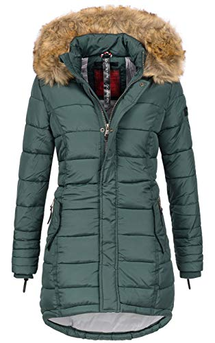 Navahoo Papaya Damen Winter Jacke Steppjacke Mantel Parka gesteppt warm B374 [B374-Papaya-Forest-Gr.L]