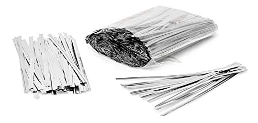 1000 Pack of Silver Twist Ties. 4 Inches Bag Ties by Amiff. Metallic Twist Ties for cellophane Bags, Food and Party Bags. Storage & Organization. Packing & Packaging. for Stores and Home.
