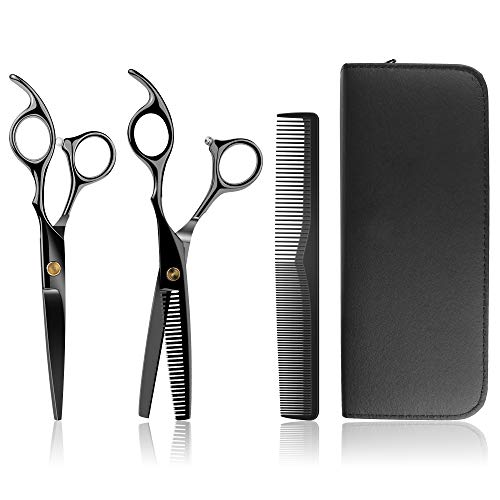 Juego de tijeras de peluquería profesionales, con funda, 2 tijeras de peluquería extraafiladas, corte de pelo perfecto para hombre y mujer, peluquería familiar
