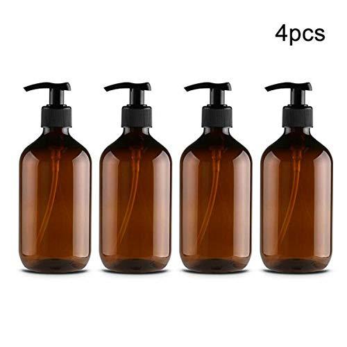 Kitchnexus 4 Stück 500ml Seifenspender Lotionspender Leer Flasche mit Schwarz Lotion Pumpe Spender Ideal für Küche Bad