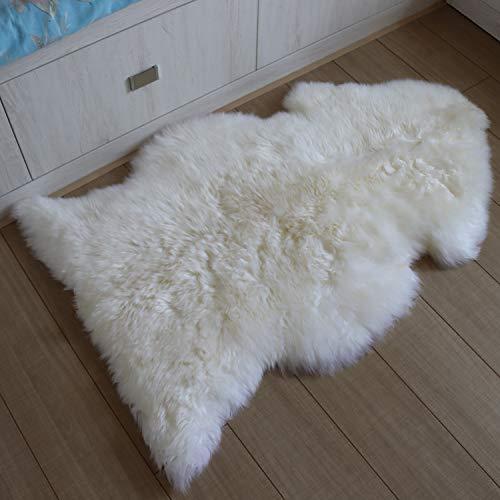 Sheepskin Rug Extra Thick 100% Genunie Australian Sheepskin-Soft Natural Merino 2.3' x 3.3' Luxuxry Fur Rug for Bedroom Living Room Kid's Room White