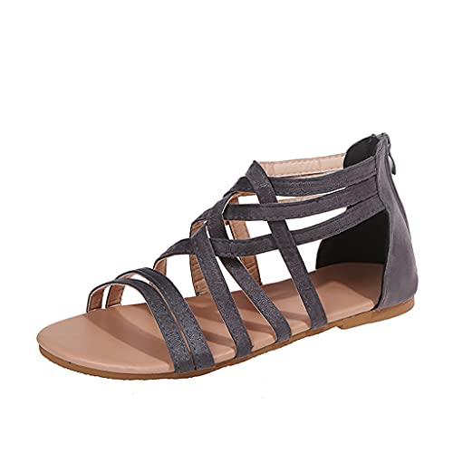 Sandalias Mujer Planos Sandalias Playa Verano Cremallera Punta Abierta Vacaciones Zapatos Elegante Cómodo