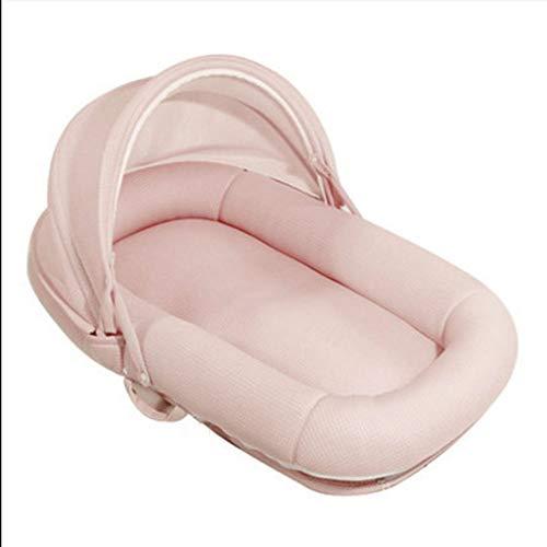 Tragbares Baby Nest Cocoon Neugeborenes Kuschelbett Weiches Baby Kissen Atmungsaktives Nest Baby Bionic Bett für Kleinkinder Kleinkinder,Rosa,95x50x13cm