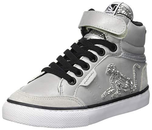 DrunknMunky Boston Rock Star Sneaker a Collo Alto Bambina, Argento (Silver B78) 31 EU