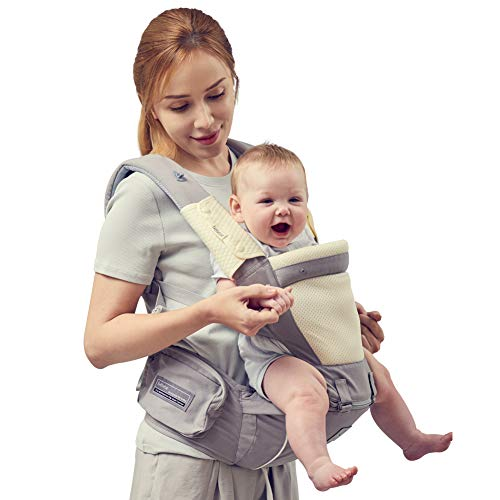 Bebamour Baby Carrier Ergonomic with Hip Seat 100% Cotton Approved by U.S. Safety Standards 6 in 1 Backpack Baby Carrier with Waistband Extender & 2 Pieces Teething Pads, Light Grey