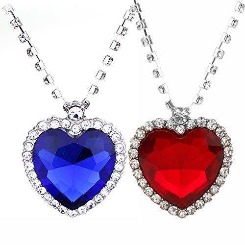 N/A 3D Hollow Heart Shaped Anhänger Halskette Film Titanic Crystal Das Herz des Ozeans baumeln Halsketten Schmuck Fashion Party Geschenk