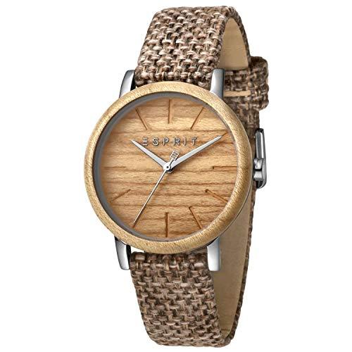 Esprit Uhr mit Holz-Besatz und Leder-Armband