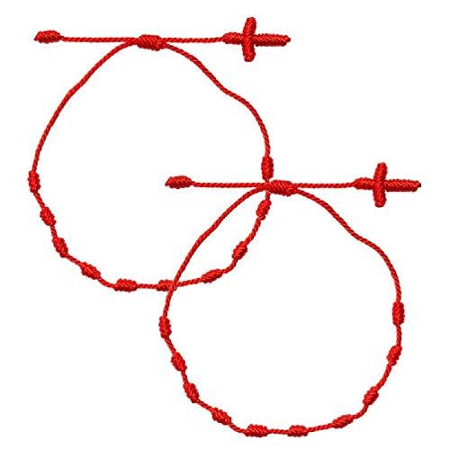 2 pulseras de la amistad, hechas a mano, con 7 nudos rojos, amuleto de la buena suerte para el éxito y la prosperidad, kit de pulseras de la amistad, exquisito y hermoso regalo de joyería para