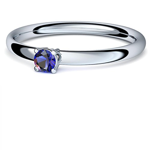 Saphir Ring Silber 925 (***sehr hochwertiger Saphir 3 mm***) + GRATIS Luxusetui Silberring blauer Stein Silberring Saphir Saphirringe Ringe Damen Schmuck AM161 SS925SAFA50