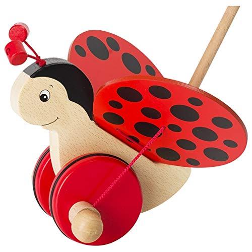 Schiebetiere und Lauflernhilfe aus Holz ab 1 Jahr   Schiebefigur Lernspielzeug   Holztier zum Laufen Gehhilfe   Holzspielzeug Tiere für Kinder & Babys ab 12 Monate   Schiebetier : Marienkäfer