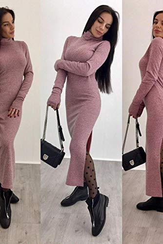 LALY A SHOP Col roulé tricoté Robe Pull sexy d'automne Hiver Slim Slim Maxi Robes à Manches Longues Pour Femmes, Longue Robe, dy-17338 Haricot Rouge, M