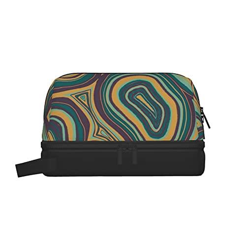 Bolsa de lavado multifuncional, bolsa de maquillaje, organizador de cosméticos, bolsa de aseo colgante para hombres y mujeres (tonos de joya de ágata dibujada a mano)