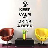yiyiyaya Gardez Le Calme et Buvez Une bière Stickers muraux Citations et dire Home Decor Cuisine imperméable Stickers muraux Vinyle Art Autocollant café 26x44cm