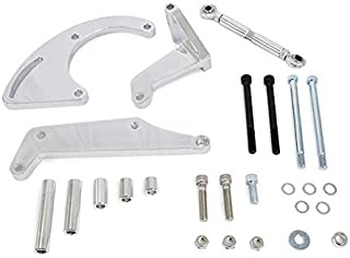 A-Team Performance Long Water Pump Compressor Bracket Compatible with Chevrolet SBC Small Block Chevy V8, GEN. I, Chrome