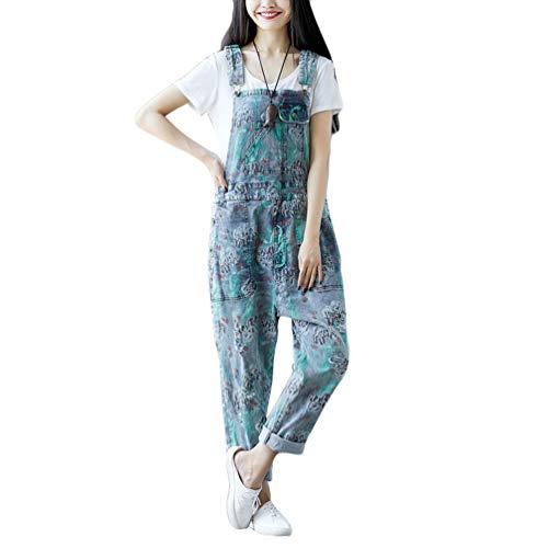 YuanDian Damen Latzjeans Denim Latzhose Weites Bein Große Größen Overalls Strampler Jeans Einteiler Hosen Boyfriend Loose Fit Umstands Mutterschaft übergroße Jumpsuits Hose 18# Hellblau