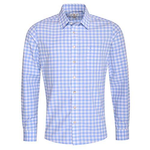 Almsach Herren Trachtenhemd Slim-Fit Slim-Line Trachten-Mode traditionell-kariert s-XXL viele Farben, Größe:S, Farbe:Hellblau