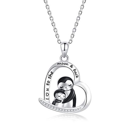 ZGBY 925 Sterling Silver Penguin Necklace I Love You to The Moon and Back Pendant for Daughter Mom Animal Jewelry Mothers Day Gifts