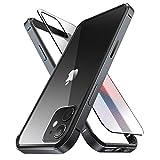 SUPCASE - Custodia per iPhone 12 / iPhone 12 Pro (2020 Release) da 6,1', sottile struttura in metallo con paraurti interno in TPU e trasparente (Nero)