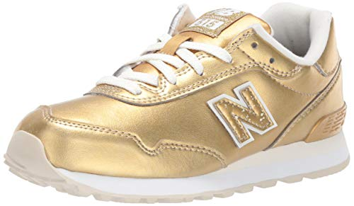 New Balance Girls' 515v1 Sneaker, Gold Metallic/White, 4 W US Big Kid