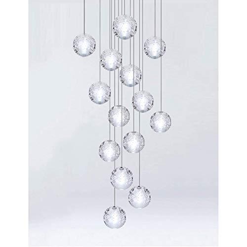 KBEST Staircase Chandeliers 14 Glass Balls Multi Lights Modern Creative Living Room Pendant Light Glass Bubbles Villa Ceiling Lamp Duplex Apartment Spiral Stairs Long Chandelier, 50X200cm