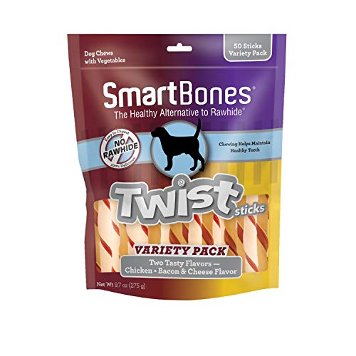 SmartBones Twist Sticks Variety Pack 50 Count, Rawhide-Free Chews for Dogs Made with Real Chicken Or Bacon and Cheese Flavor (SBM-00464)