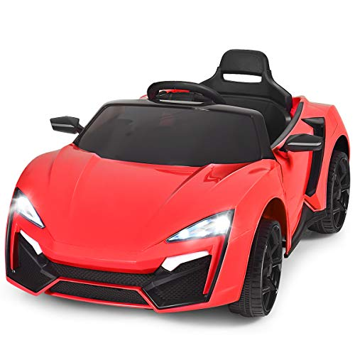 Costzon Ride on Car, 12V Battery Powered Electric Vehicle w/Manual & 2.4G Remote Control Modes, LED Lights, Horn, Music, MP3, USB, TF, 3 Speeds, Spring Suspension, Ride on Toy for Boys Girls (Red)