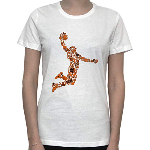 Basketball Player Made out of Game Parts Womens T-Shirt Large