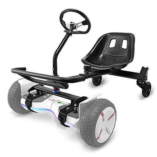 Hoverkart Sedile per Scooter con Bilanciamento Automatico da 6,5 a 10' Kit di Conversione Go-Kart Elettrico Manubrio Volante Sedile Avvolgente Ammortizzatore Telaio Regolabile,Nero,Steering Wheel