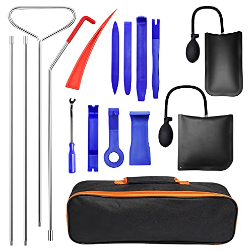 HIRALIY Professional Automotive Car Tool Kit, Essential Automotive Car Tool with Long Reach Grabber, Air Wedge, Auto Trim Removal Tool Set for Car and Trucks