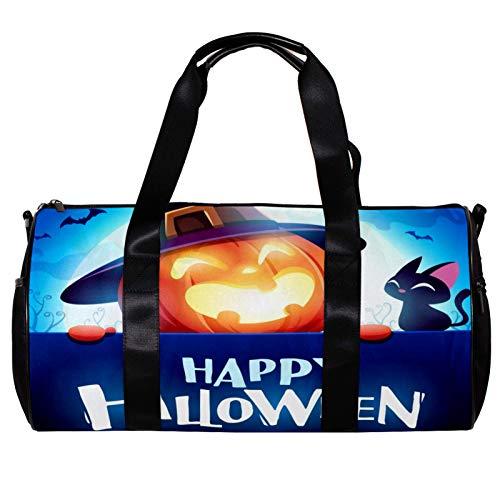 Anmarco Seesack für Damen Herren Halloween Jack Laterne Kürbis Hexe Hut Sport Gym Tote Bag Wochenende Übernachtung Reisetasche Outdoor Gepäck Handtasche