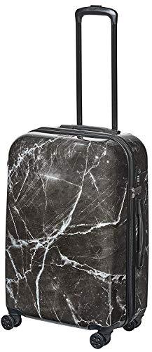 Pure - Hartschalen-Koffer Marmor 59 x 40 x 23 cm - Trolley mit 4 Rollen und TSA-Schloss - Reisekoffer mit 42 Litern Volumen - Schwarz