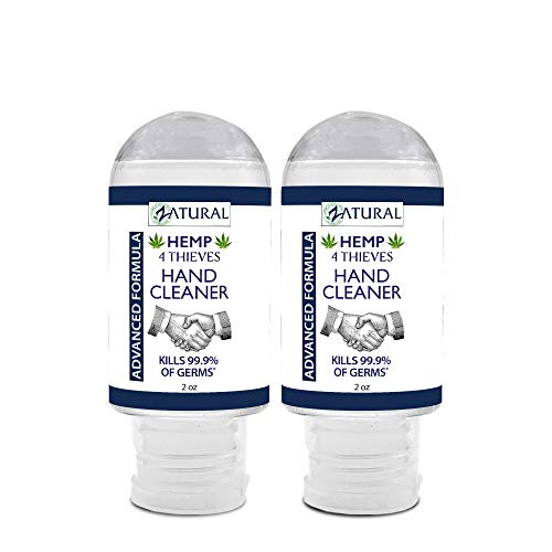 Hand Sanitizer Gel - Rinse Free Waterless Hand Cleaner - 62% Alcohol - 4 Thieves Essential Oil Synergy (4 Thieves, 2oz (2 Pack))