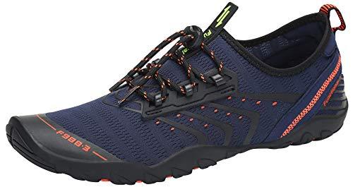 SAGUARO Escarpines Zapatos de Agua Calzado Playa Zapatillas Deportes Acuáticos para Buceo Snorkel Surf Natación Piscina Vela Mares Rocas Río para Hombre Mujer (043 Navy,45 EU)