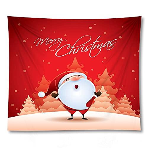 PPOU Tapiz navideño Adornos de Arte de Pared Feliz Santa decoración del hogar Fondo Tela Tapiz sofá Manta decoración Tela A6 73x95cm