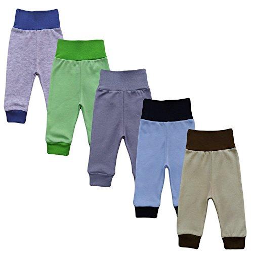 MEA BABY Unisex Baby Hose aus 100% Baumwolle im 5er Pack/ Pumphose. Babyhose für Jungen Baby Hose für Mädchen, Schlupfhose (68, Jungen)
