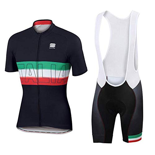 WOLFIRE WF Tuta da Ciclismo per Uomini di Squadra. Culotte e Maglia. con Gel Pad 5D. per MTB, Spinning, Road Bike (Italia, M)