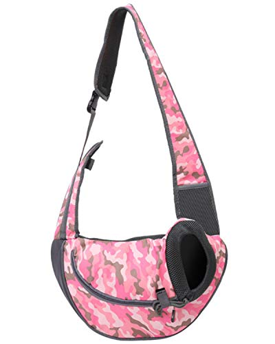 smont-pet-sling-carrier-for-small-dog-and-cat-travel-puppy-carrying-bag-breathable-mesh-single-shoulder-front-pack-with-safety-belt-for-outdoor-walking-subway-pink-camo-s