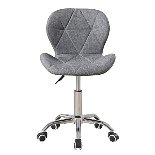 Fabric Linen Desk Chair for Home Office Computer Chair Height Adjustable Swivel Chair with Backrest (Light Grey)