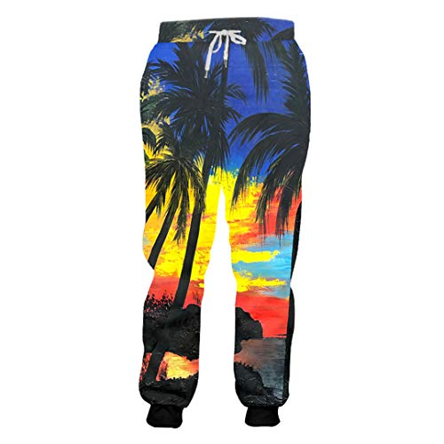 Ynrbeminb Fashion Men/Women Casual Full Length Pants Harajuku Coconut Tree Landscape 3D Printed Joggers Hip Hop Sweatpants Coconut Tree 4XL