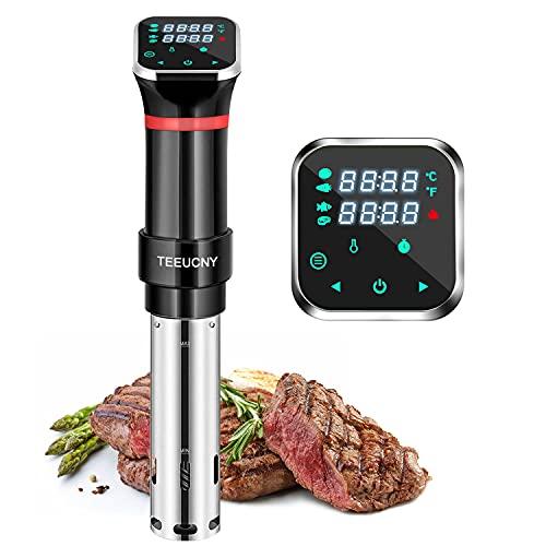Sous Vide TEEUCNY Aparato de Cocina Precisión, Máquinas para Cocinar al Vacío, Circulador de Inmersión Termal con Pantalla LCD Legible, Temporizador Ajuste de Temperatura, Noxidable Libre de BPA 1100W