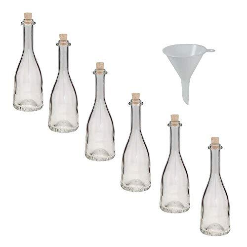 Viva huishoudelijke artikelen - 6 x glazen fles 200 ml met kurksluiting, mooi gevormde glazen potjes in set als likeurfles, jeneverfles, olieflesje, azijnfles enz. bruikbaar (incl. trechter Ø 7 cm)