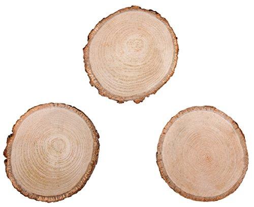 Rayher 65201000 Birkenscheiben rund, Durchmesser 10-12cm, 3 Stück