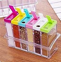 RETAIL PARATPAR Jar 6 Pcs Set Pepper Salt Spice Masala Box Storage Containers Easy Flow Storage - Pack of 1