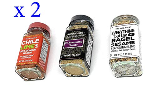 Trader Joe's Seasoning - 21 Salute Seasoning , Chile Lime and Everything but the bagel Seasoning - PACK OF 2