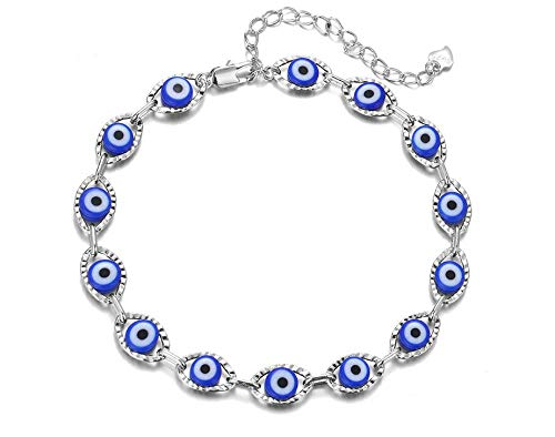 2 piezas Evil Eye Hamsa Blue Beaded Charm Stretch Bracelet - Evil Eye Bead Pulseras para mujer (B - Cadena de plata cuentas azules)