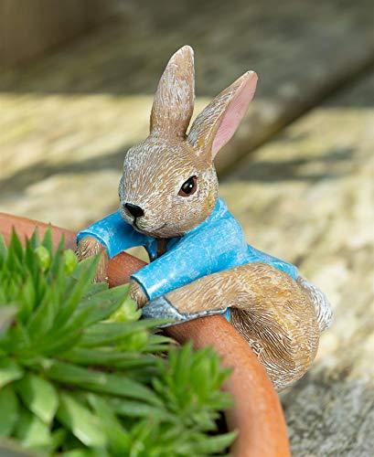 Pot Buddies Beatrix Potter Peter Rabbit Climbing Figure Plant Pot Hanger - Handmade Garden Ornament - Decorative Flower Planter Figurine