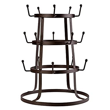 Leoneva Retro Rustic Black Steel Cup Mug Tree Hanger Hook Drying Rack Organizer Stand