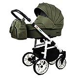 Stroller 3 en 1 juego completo con asiento de coche Isofix baby tub baby carrier Buggy Colorlux White de ChillyKids Olive Silla de auto 4 en 1 + ISOFIX