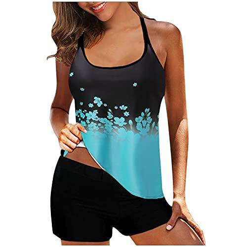 YAOBF Bikinis für Damen Damen Sexy Bikini Set Bedruckt Badeanzug Badeanzug Strandkleidung Badeanzug O Neil Tankini Damen (Blue 1,XXXXL)